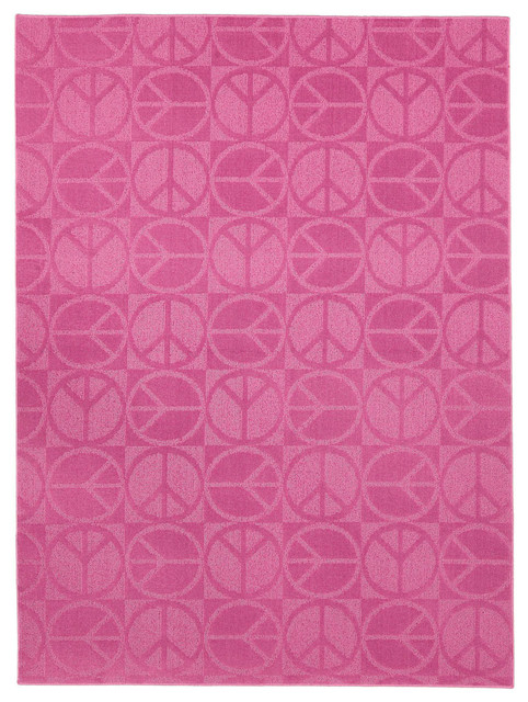 Peace, Love & Pink Area Rug (5' x 7') contemporary-rugs