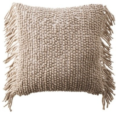 Nate Berkus Decorative Woven Pillow With Side Fringe contemporary-pillows