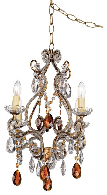 Crystal Leila Amber Gold Finish Swag Plug In Chandelier