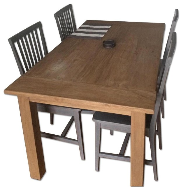 ... Barrel Terravida Dining Table With 4 Village Side Chairs dining-tables