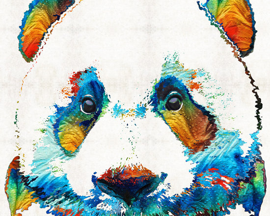 Animals, Fish and Birds - Colorful Panda Bear Art By Sharon Cummings