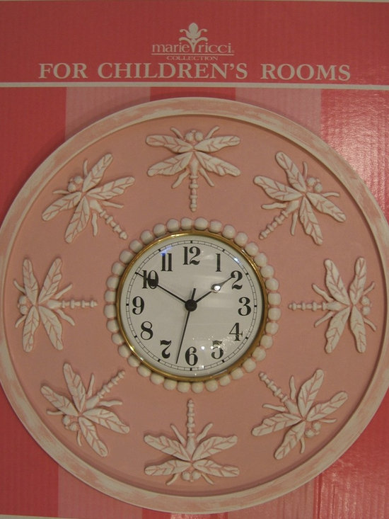 "Children's Clocks - Children's Clock in Dragonfly design. Shown in distressed pink. 18"" diameter with 6"" clock face. Available in 18 designer colors or send me your paint. Ships within two weeks and Free Shipping within the Cont. US. $200 www.mariericci.com"