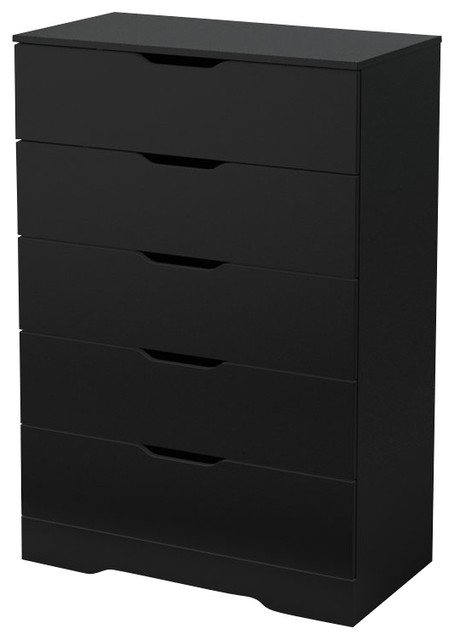 South Shore Trinity 5 Drawer Chest In Pure Black Modern Dressers Chests And Bedroom Armoires