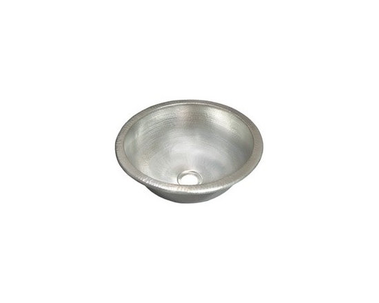 "Small Round in Brushed Nickel - Small Round in Brushed Nickel Full Specifications: 16 gauge hammered copper. 1.5 In. drain. IAPMO listed / cUPC certified. Post-consumer recycled copper. 13 3/4"" W x 6"" H"