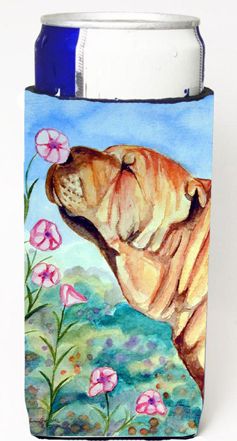 Shar Pei Smell the flowers Michelob Ultra Koozies for slim cans 7105MUK barware