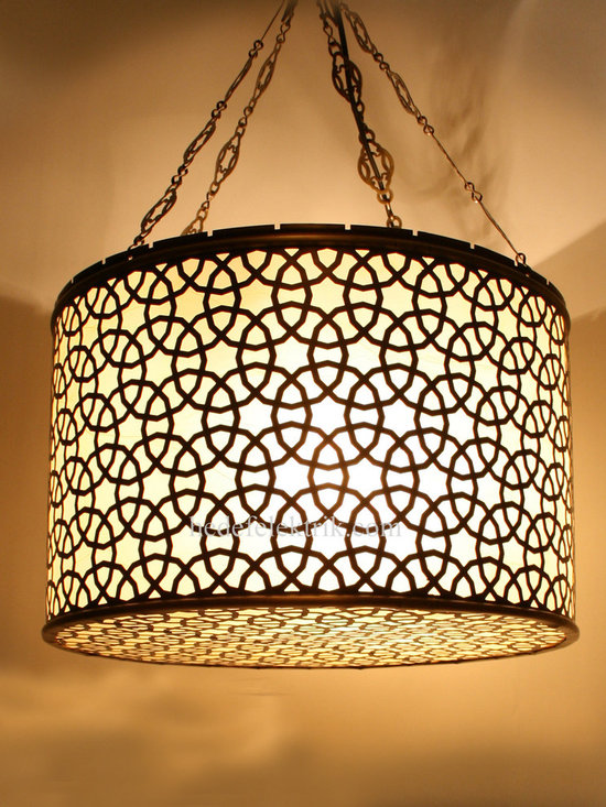 Ottoman Style Pendant Lampshade - Metal part is made of high quality brass so there will be no color change on glass part and no oxidation on brass part.
