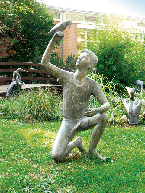 Bronze Statues - Boy and Bird traditional artwork