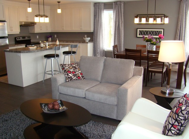 Open concept living dining kitchen aire ouverte salon for Salle de manger montreal