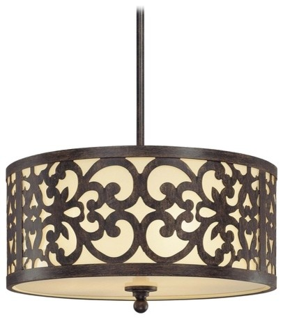 Drum Pendant Light with Beige / Cream Glass in Iron Oxide Finish pendant-lighting