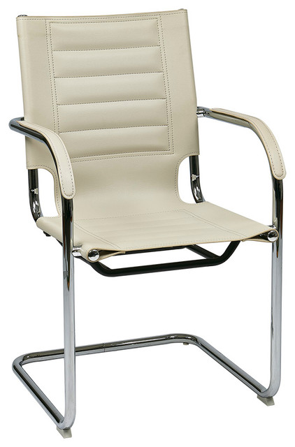 Office Star Avenue Six Trinidad Guest Chair In Cream Vinyl Traditional Of