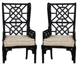 Country Chic French Bamboo Wingback Chair eclectic-living-room-chairs