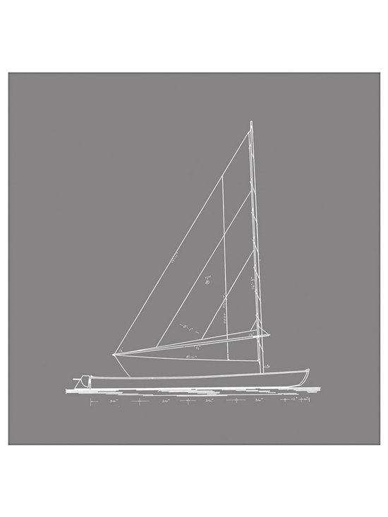 Big Fish Sailboat Blueprint In Gray II Wall Art