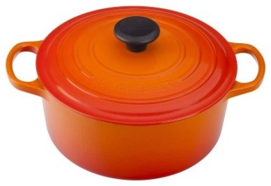 The Le Creuset Flame Signature Round French Oven is a long-lasting piece that's modern-ovens
