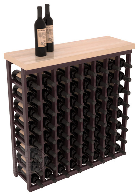 Tasting Table Wine Rack Kit + Butcher Block Top in Redwood with Burgundy Stain + contemporary-wine-racks