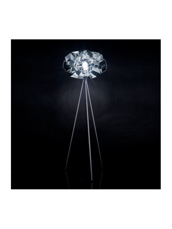 Viso - Diamond Floor Lamp - Diamond Floor Lamp features  a Clear intricate designed shade that creates defined light reflection with a Silver finish. One 100 watt, 120 volt A19 type Medium base incandescent bulb is required, but not included. ETL listed. 24 inch width x 62 inch height.