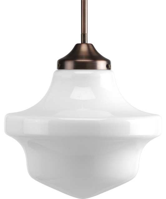 Progress Lighting P5195-124 1-Light Pendant with White Opal Glass transitional-pendant-lighting