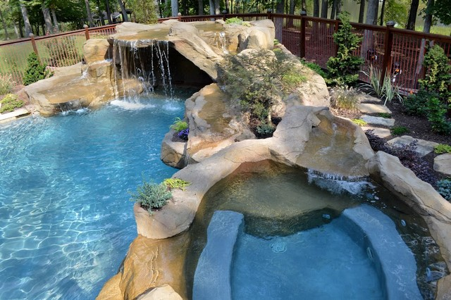 Faux rock grotto with waterfall into gunite pool spa with for Richmond gardens pool