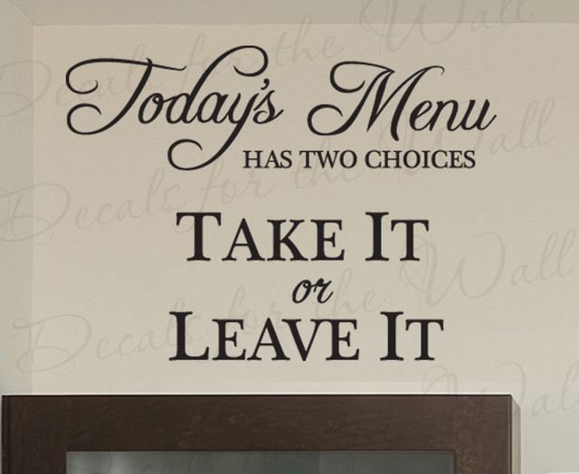 Wall Quote Decal Sticker Vinyl Art Today's Menu Take It Or