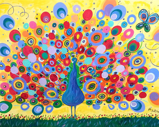 The Peacock and the Butterfly, 30 x 40 in -
