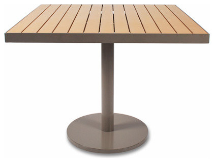 Cafe 36 Inch Square Table Taupe W Teak ROM Modern Dining Tables