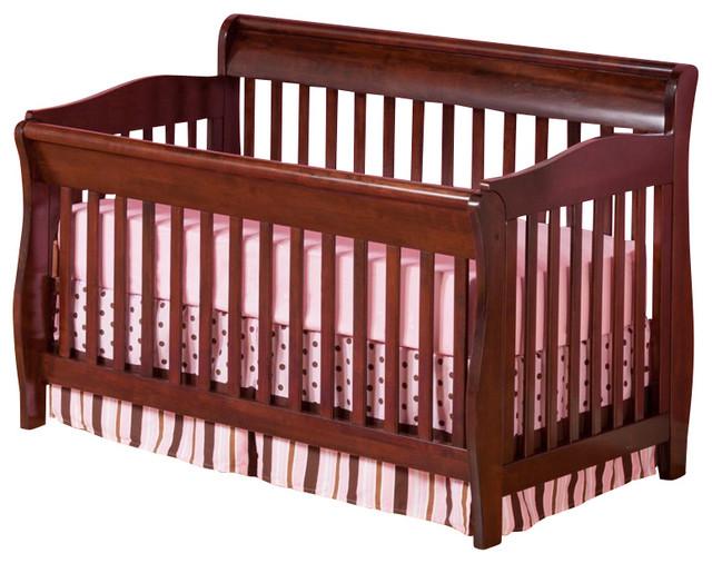 Atlantic Furniture Versailles Convertible Crib in Antique Walnut transitional-cribs