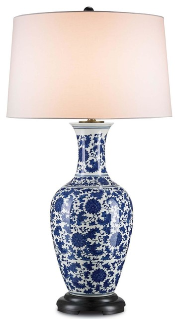 currey company vera table lamp in blue and white table. Black Bedroom Furniture Sets. Home Design Ideas