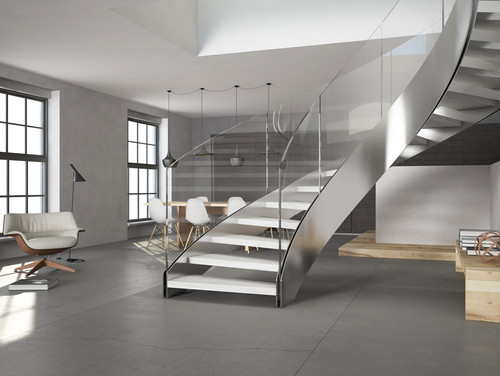 circular, steel, two-stringer stairs