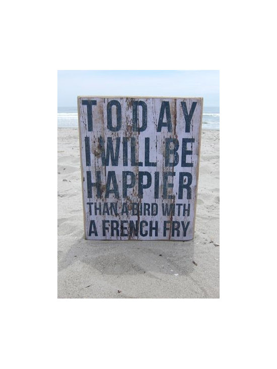 """Wooden Wall Art - """"Happy"""" - Who among us wouldn't want to have the idyllic """"me, thee and a house by the sea?"""" If you are already there we applaud your sandy decision. If you are still dreaming of the day one of these signs will float your boat!"""