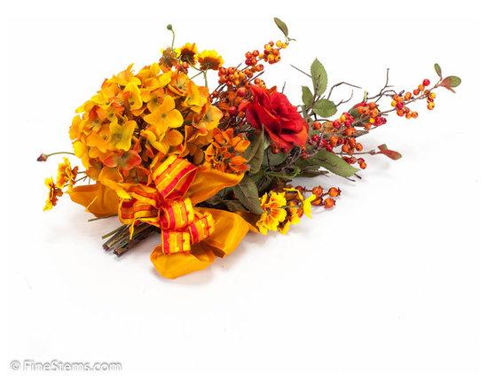 Gold & Orange Hydrangea Runner Tie On - Gold & Orange Hydrangea Runner Tie On. Custom Fall Arrangement