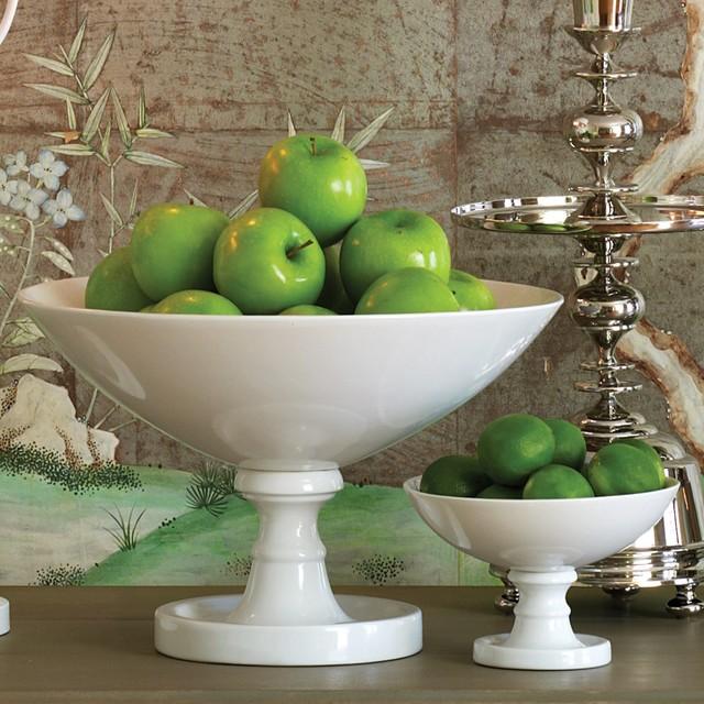 Global Views Grande Footed Bowl: Global Views Decor White Grand Pedestal Bowl