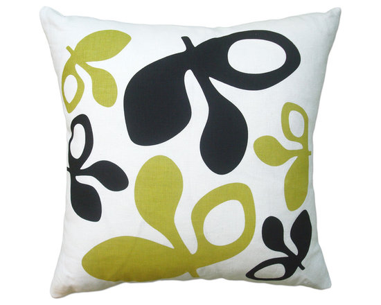 Balanced Design - Hand Printed Linen Pillow - Pods, Black/Yellow, 16 x 16 - -Graphic, modern patterns -Hand printed in Rhode Island, on 100% soft white linen -Eco-friendly inserts (50% regenerated fiber made from recycled plastic bottles, 50% 95/5 feather)  -Zipper closure  -Wash in cold water, line dry.  -Sewn in Massachusetts  -Imported Fabric