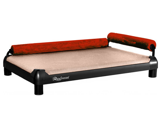 DoggySnooze - snoozeLounge, Anodized Frame, 2 Bolster Red - Lucky dog, indeed! This so-comfy lounger boasts two bolsters to cradle your canine in luxury. Plus it comes in different sizes and heights to suit your particular pooch's preference.