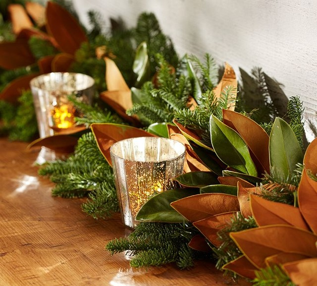 Live Magnolia and Fir Garland With Burlap Ribbon traditional-wreaths-and-garlands