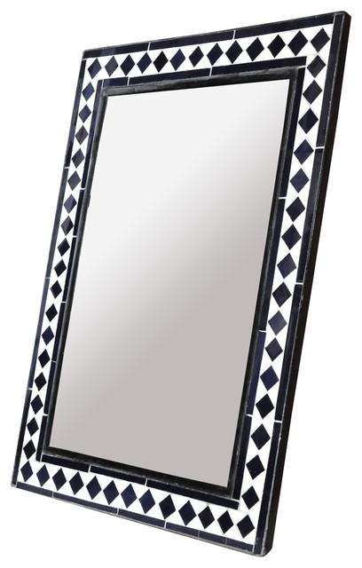 Black Diamond Pattern Bone Inlay Mirror eclectic-wall-mirrors