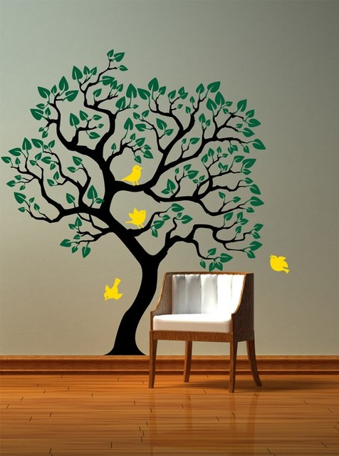 Vinyl Wall Decal Tree with birds wall sticker Size by CherryWalls ...