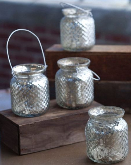 Hanging hobnail mercury glass votive holder with wire for Hanging votive candles