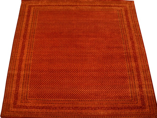 Oriental Rug Overdyed Sarouk Mir Hand Knotted Rug Wool and Silk Sh10305 transitional-rugs
