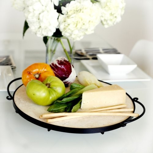 Mesa Home Ringlet Marble Platter with Wrought Iron Base contemporary-serving-dishes-and-platters