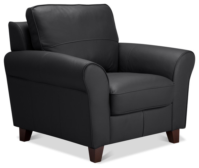 Byron Armchair Black Leather Contemporary Armchairs