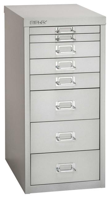 Bisley 8-Drawer Under Desk Multi-Drawer Cabinet in Light Gray Steel - Traditional - Filing ...