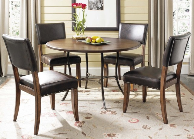 Contemporary Hillsdale Cameron Round Metal Parsons 5-Piece Dining Set contemporary-dining-tables