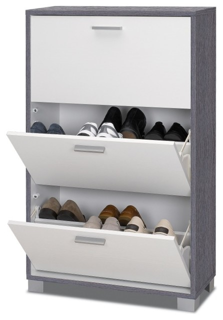 Gray Oak and Glossy White 3 Door Shoe Rack - Modern - Shoe Storage - other metro - by TheBathOutlet