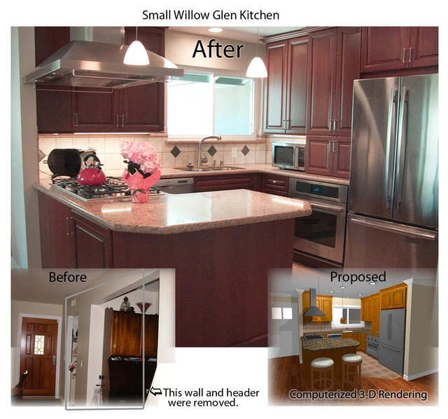 Small kitchen renovation before and after traditional for Small kitchen renovations