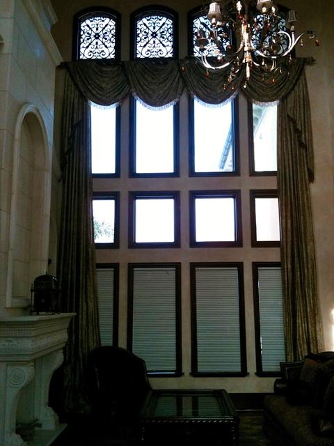 Grand Living Room mediterranean-window-treatments