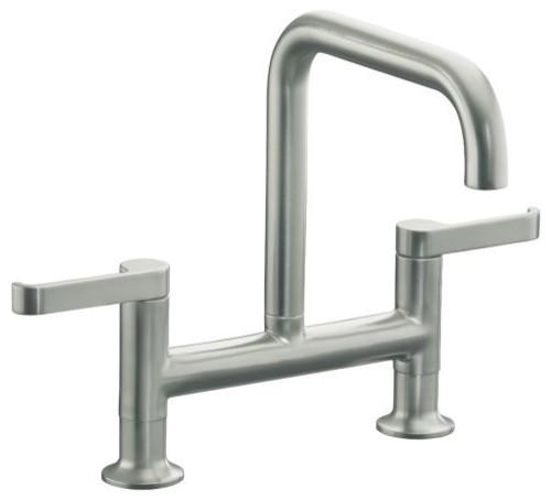 Kohler K 6125 4 Vs Torq Deck Mount Bridge Kitchen Faucet In Stainless Steel Traditional