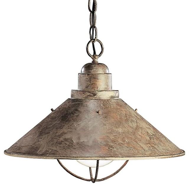 kichler seaside unique pendant light fixture in olde brick