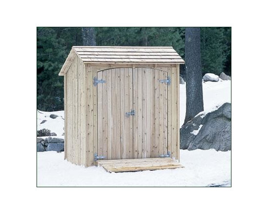 "Storage Shed or Shelter - Ideal as a bus shelter (without doors) for housing developments, elderly communities, or golf courses, this sturdy structure is handcrafted from durable Cedar. For added comfort, include the 66"" W bench. As a smart, scaled down alternative to a Walpole Small Building, simply opt for the ramp and double doors with heavy galvanized strap hinges, ring latch and chain bolt to store and secure garden tools, supplies, and perhaps a lawn mower. Easy assembly. 84"" H, 70"" W, 57 1/2"" D. Doors, bench and ramp sold separately. Shipped kit. Motor freight."