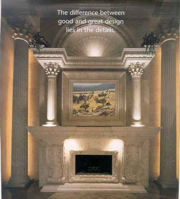 Fireplace surrounds and mantels mediterranean indoor for Mediterranean fireplace designs