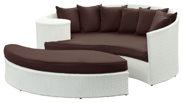 Modway taiji daybed in white brown contemporary indoor for Brown chaise lounge indoor