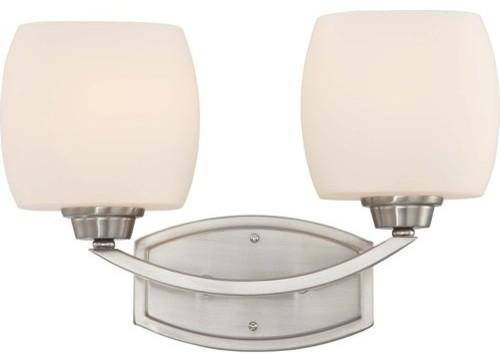 Nuvo Lighting 60/4182 Helium Two Light Bathroom Fixture with Satin White Glass, transitional-bathroom-vanity-lighting
